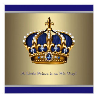Blue Gold Crown Little Prince Boy Baby Shower Personalized Invitation