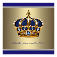 Blue Gold Crown Little Prince Boy Baby Shower Invitations