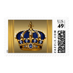 Blue Gold Crown Postage Stamps