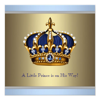 Blue Gold Crown Prince Baby Boy Shower Card