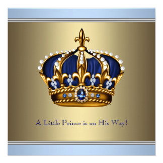 Blue Gold Crown Prince Baby Boy Shower Personalized Invitation
