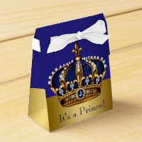 Blue Gold Crown Prince Baby Shower Favor Box