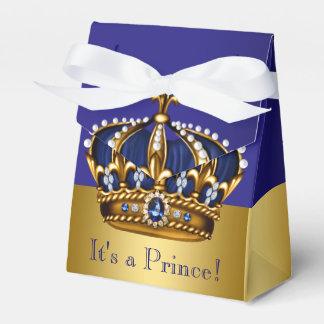 Blue Gold Crown Prince Baby Shower Favor Box & Tent Favor Boxes | Zazzle