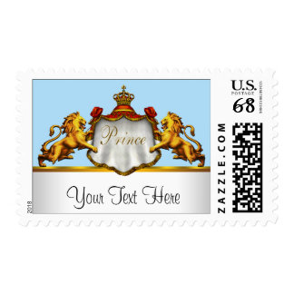 Blue Gold Crown Prince Baby Shower Postage Stamps