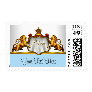 Blue Gold Crown Prince Baby Shower Stamp
