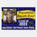 Blue/Gold Custom Photo Graduation Yard Sign