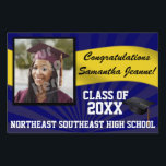 "Blue/Gold Custom Photo Graduation Yard Sign<br><div class=""desc"">Congratulations to the class of (your year). Customize this personalized yard banner sign with your graduate&#39;s photo,  name,  year and school or other custom text. Blue and yellow gold high school or college colors.</div>"