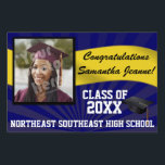 """Blue/Gold Custom Photo Graduation Yard Sign<br><div class=""""desc"""">Congratulations to the class of (your year). Customize this personalized yard banner sign with your graduate&#39;s photo,  name,  year and school or other custom text. Blue and yellow gold high school or college colors.</div>"""