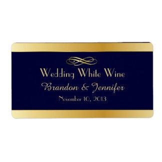 Blue & Gold Custom Wedding Mini Wine Labels