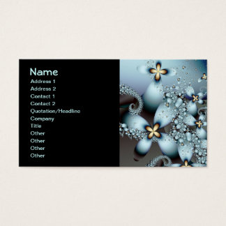 Blue Gold Cute Abstract Floral Business Card