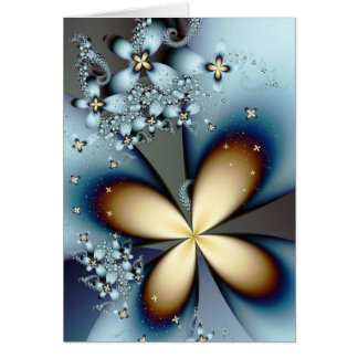Blue Gold Cute Abstract Floral Card