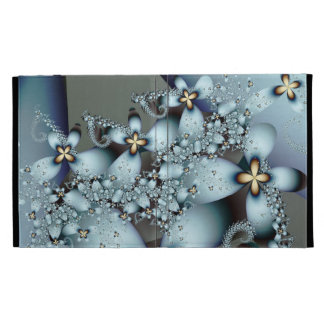 Blue Gold Cute Abstract Floral iPad Cases