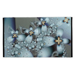 Blue Gold Cute Abstract Floral iPad Folio Cases
