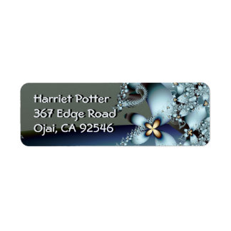 Blue Gold Cute Abstract Floral Return Address Label