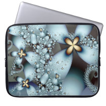 Blue Gold Cute Abstract Floral Laptop Computer Sleeve