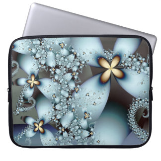 Blue Gold Cute Abstract Floral Laptop Sleeve