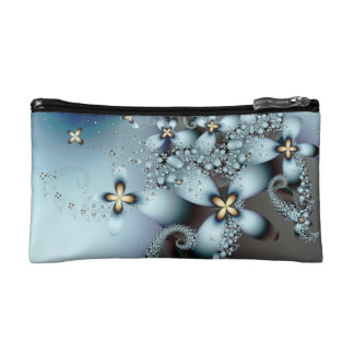 Blue Gold Cute Abstract Floral Makeup Bag