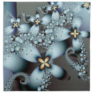 Blue Gold Cute Abstract Floral Printed Napkins