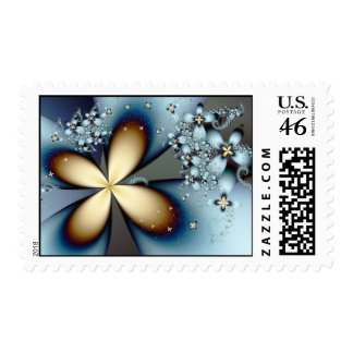 Blue Gold Cute Abstract Floral Postage