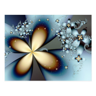 Blue Gold Cute Abstract Floral Postcard