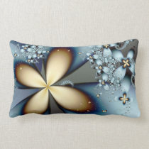 Blue Gold Cute Abstract Floral Throw Pillow