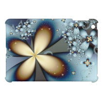 Blue Gold Cute Floral Abstract Art Cover For The iPad Mini