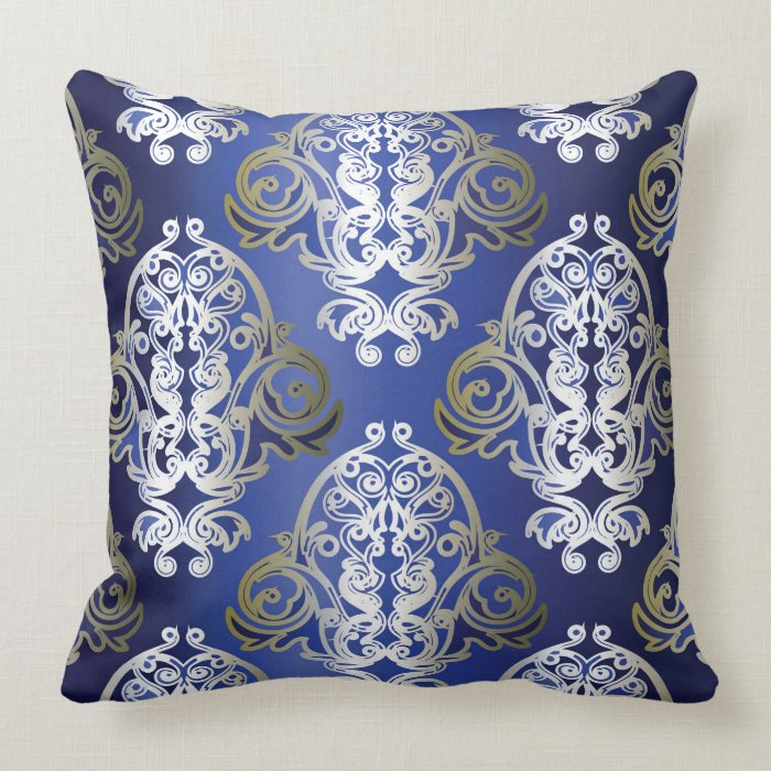 Gold Damask Throw Pillow : Blue Gold Damask Decorative Pillow Zazzle