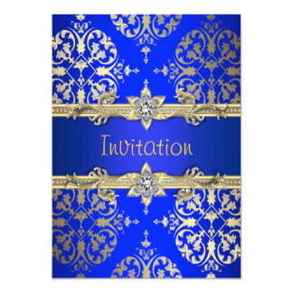 Blue Gold Damask Royal Blue Party Announcement
