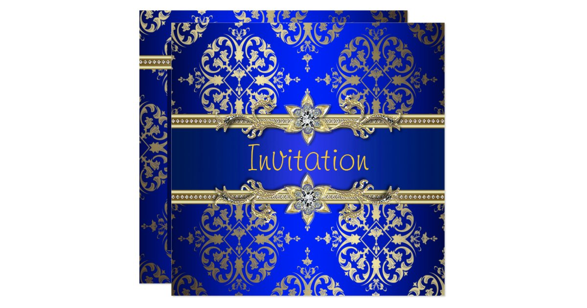 Royal Blue And Gold Wedding Invitations: Blue Gold Damask Royal Blue Party Card