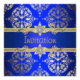 Blue Gold Damask Royal Blue Party Card