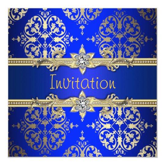 Blue Gold Damask Royal Party Invitation