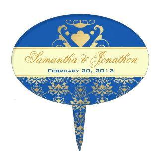 Blue & Gold Damask w/ Ivory Wedding Cake Topper