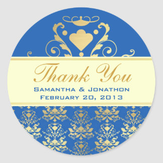 Blue & Gold Damask w/ Ivory Wedding Thank You Classic Round Sticker