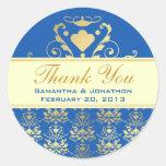Blue & Gold Damask w/ Ivory Wedding Thank You Classic Round Sticker