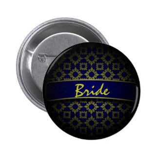 Blue gold damask wedding bride button