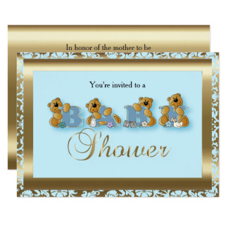 Blue & Gold Damask with Teddy Bears | Baby Shower Card