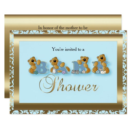 Blue & Gold Damask with Teddy Bears | Baby Shower Card ...