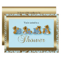 Blue & Gold Damask with Teddy Bears | Baby Shower Invitation