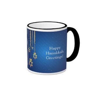 Blue/Gold Dangling Star of David Hanukkah Ringer Mug