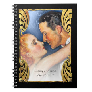 Blue Gold Deco Vintage Hollywood Glamour Couple Notebook