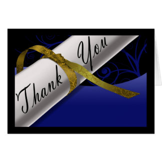 Blue & Gold Diploma Thank You Card Greeting Card