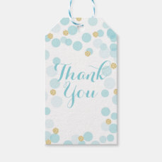 Blue Gold Dots Baby Shower Gift Tag