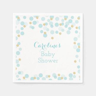 Blue Gold Dots Baby Shower Napkin
