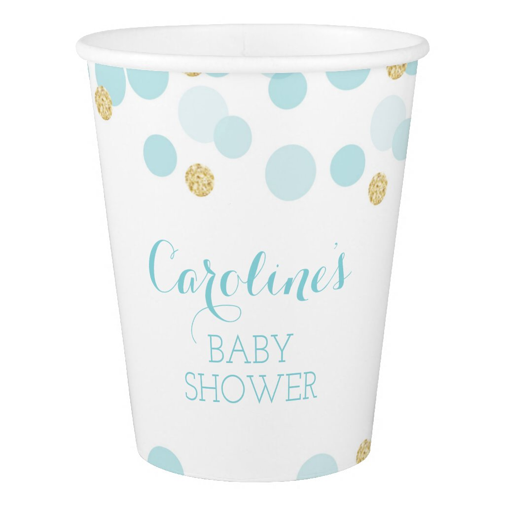 Blue Gold Dots Baby Shower Paper Cups