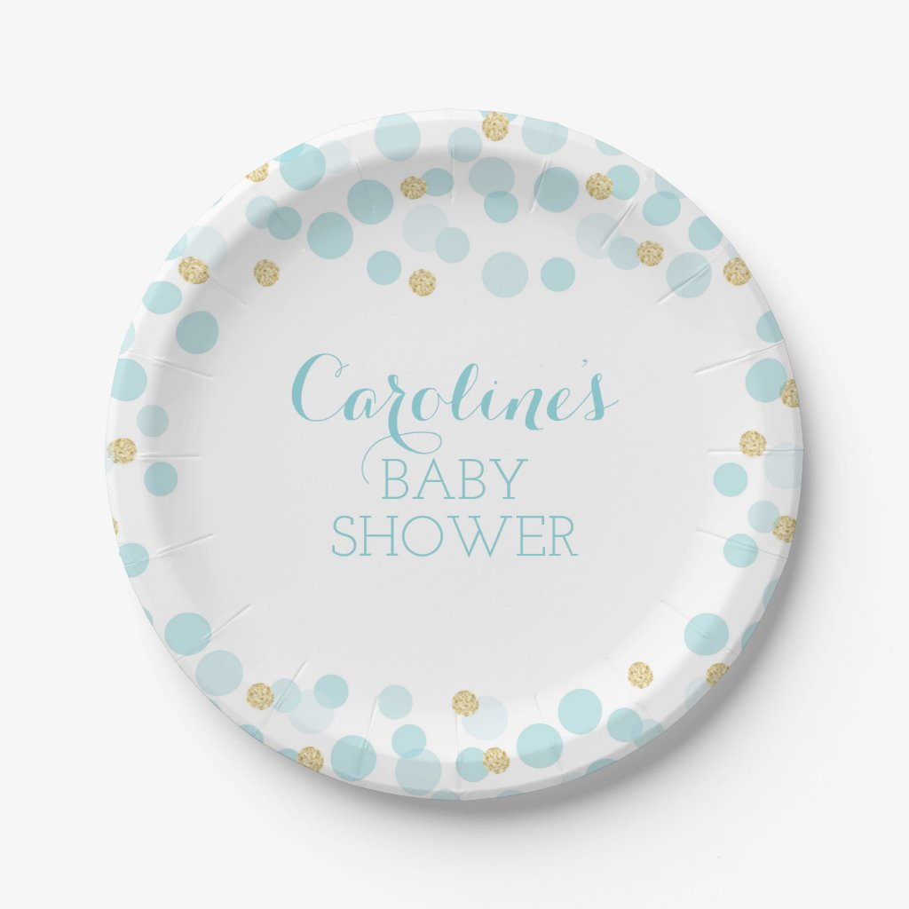 Blue Gold Dots Baby Shower Paper Plate