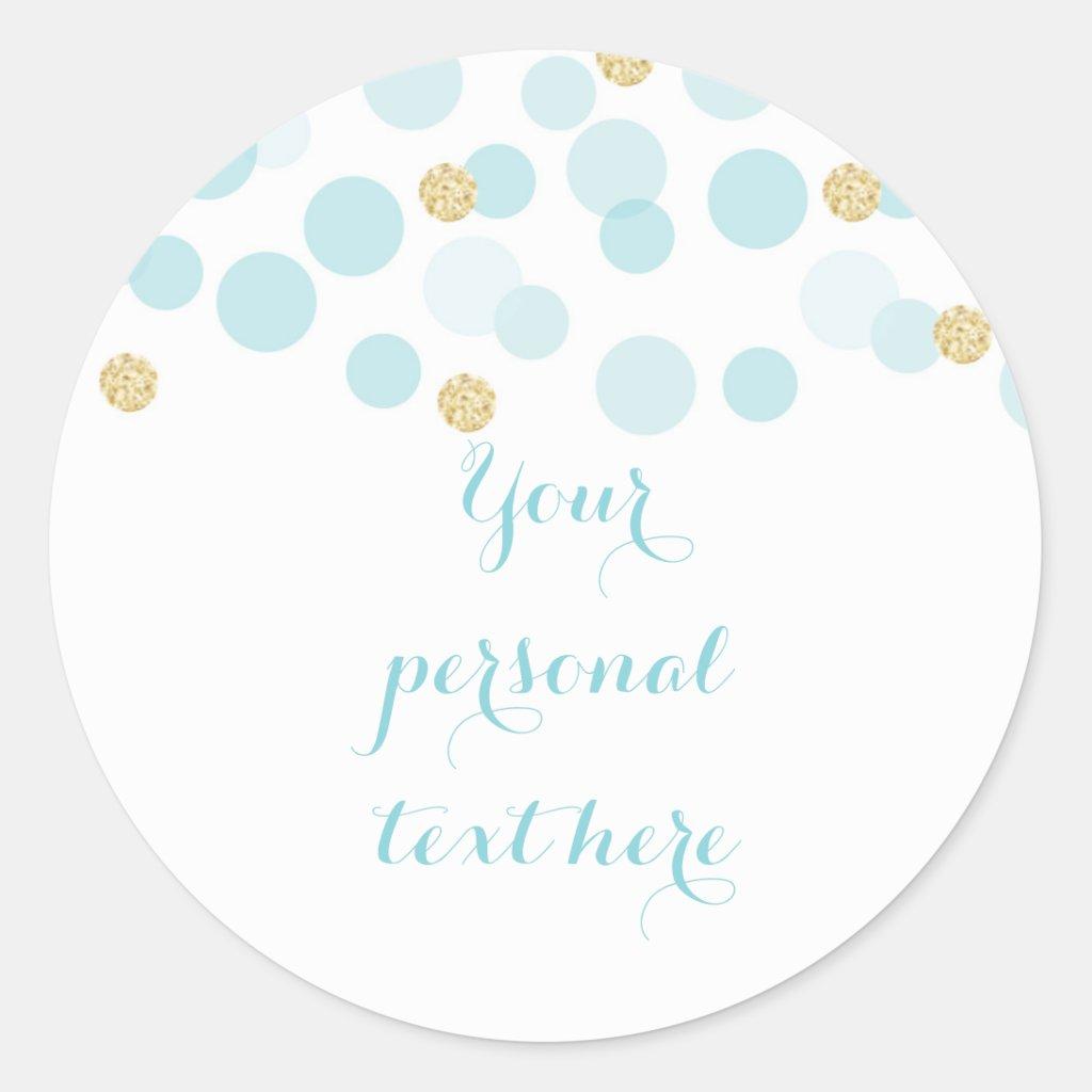 Blue Gold Dots Baby Shower Round Sticker