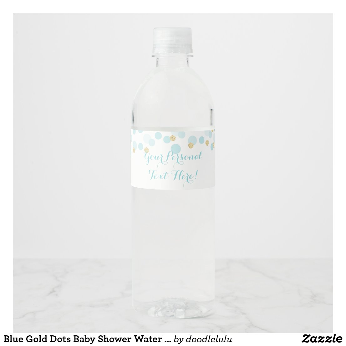 Blue Gold Dots Baby Shower Water Bottle Label