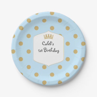 Blue & Gold Dots Royal Crown Prince Party Plates
