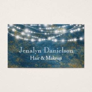 Blue Gold Elegant Festive Hanging String Lights Business Card
