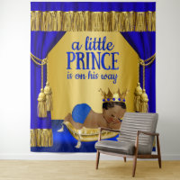 Blue Gold Ethnic Prince Baby Shower Backdrop